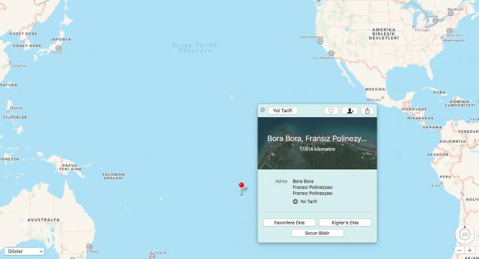 Apple haritasının verdiği Adana-Bora Bora Adaları mesafesi