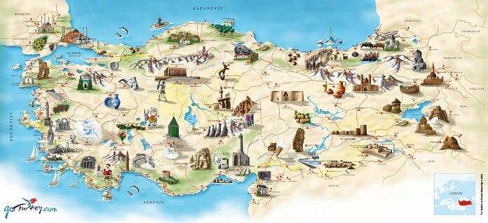 Turkiye Turizm Haritasi Buyuk Boy